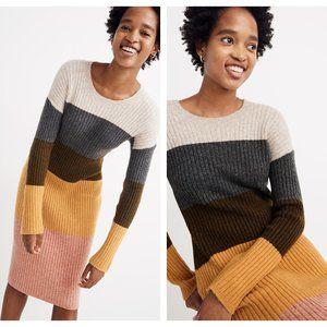 NEW! Madewell Colorblock Midi Sweater Dress (S)